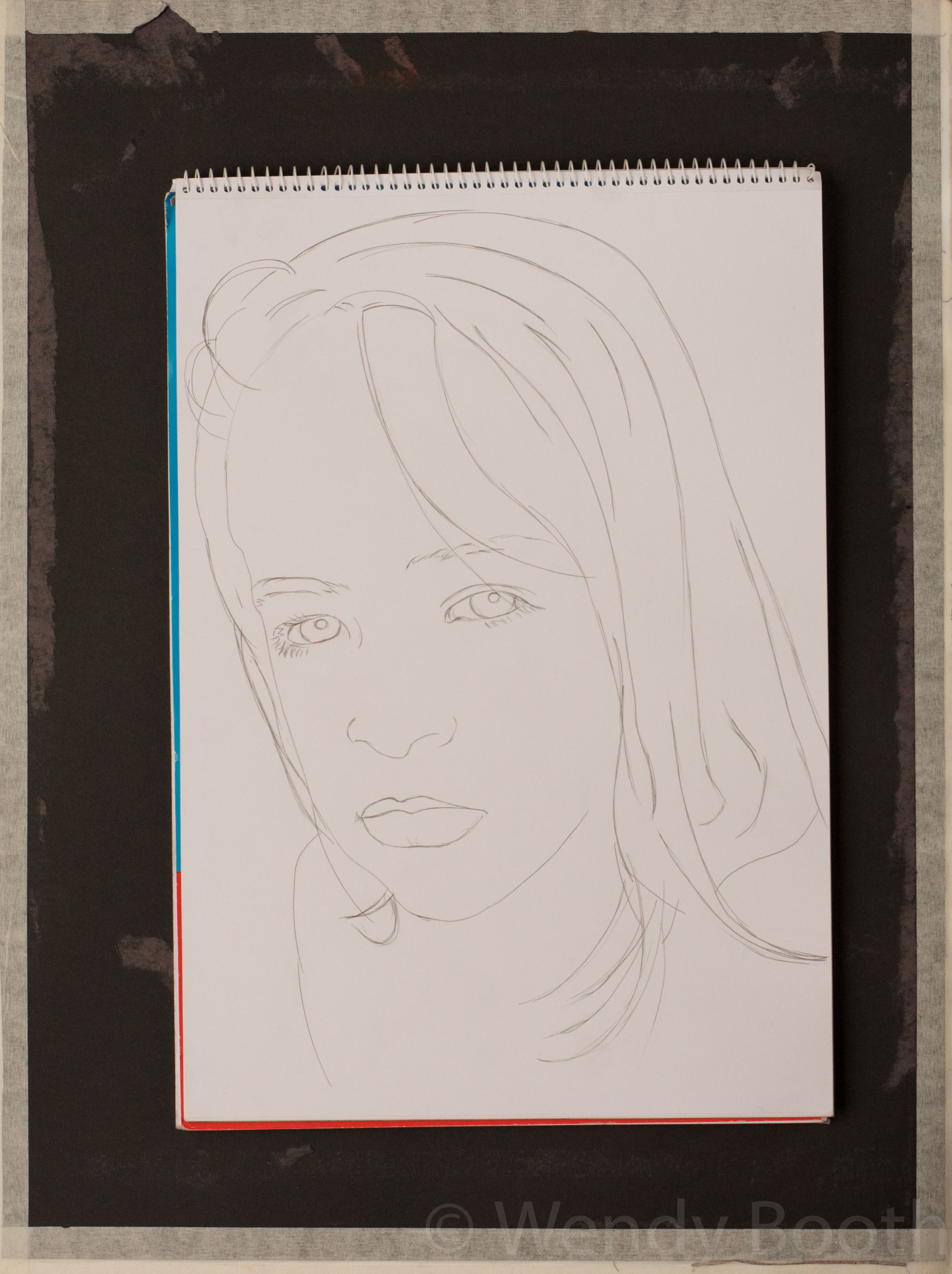 Artist line drawing portrait