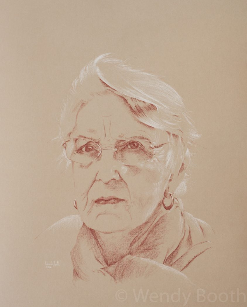 artist, commission, glasses, hire, pastel, pastel pencil, portrait, sanguine, senior, spectacles, Wendy Booth