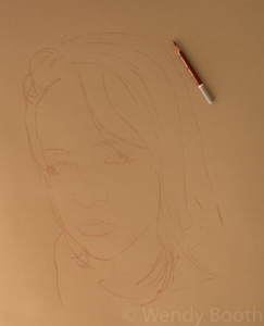Line drawing in pastel pencil