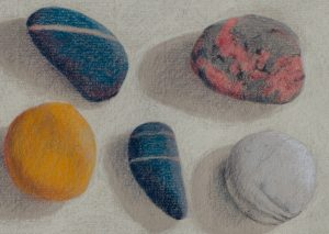 Coloured Pebbles in Pastel Pencil on Strathmore Charcoal Paper