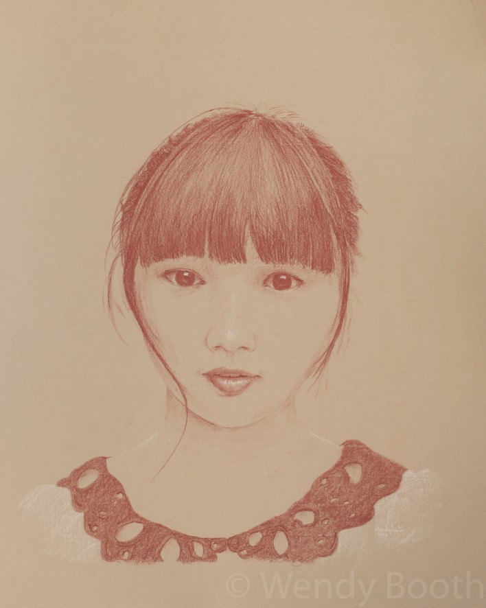 Artist's commission - young asian girl, pastel pencil drawing