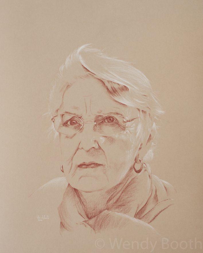 artist, commission, glasses, hire, pastel, pastel pencil, portrait, sanguine, senior, spectacles, Wendy Booth